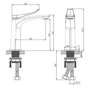 M75011B Black Basin Mixer