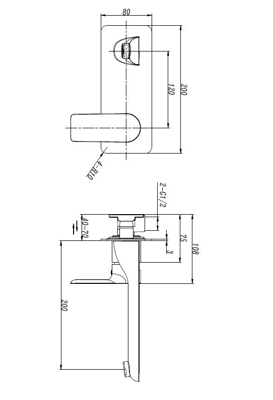 M73051B Black Wall Basin Faucet